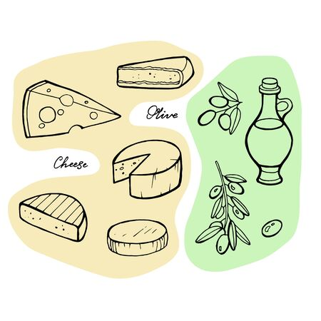 Italian cheese and olive oil, vintage engraving  isolated on white