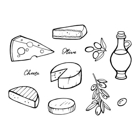 Food sketches. Hand drawn different olives, cheese and nuts for the ketogenic diet diet or low carb diet