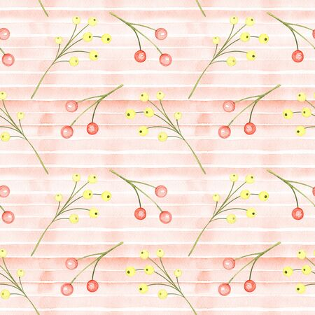 Watercolor Red Bows, Berries Branches Seamless Pattern