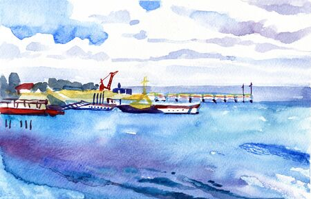White pier in the blue sea. Summer sunny day. Watercolor seascape. 写真素材