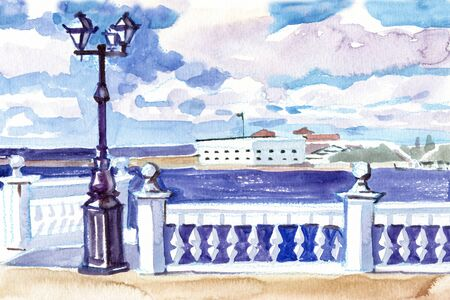 Watercolor. View of the sea pier. Sevastopol, Crimea. Travels. Tourism. Hand drawn landscapes with views of the sea and ships.