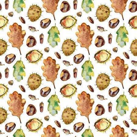 Autumn seamless pattern of chestnut, oak and maple leaves, chestnuts and acorns. Watercolor on beige background. 写真素材