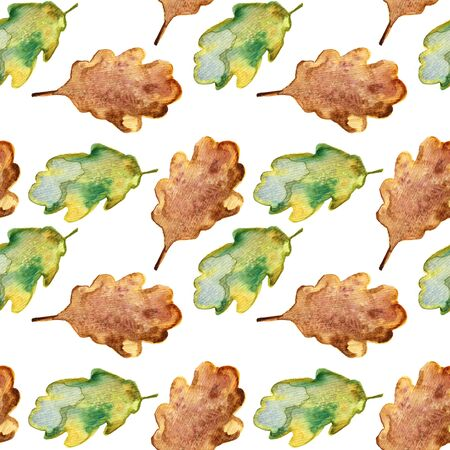 Bright green watercolor autumn oak leaves. pattern seamless.