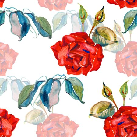 Watercolor Elegance seamless floral pattern. Beautiful flowers illustration texture with roses 写真素材