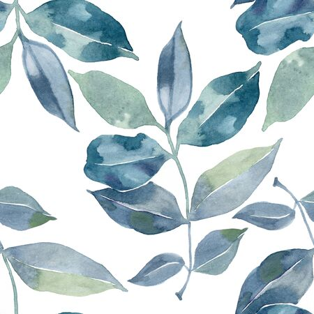 Seamless watercolor pattern with green blue leafs background.
