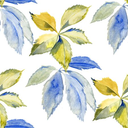 Simple and cute floral seamless pattern. Spring branches and leaves. Watercolor drawing
