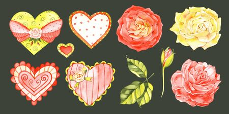 Valentines Day and Wdding decoration set. Watercolor isolated on white background.