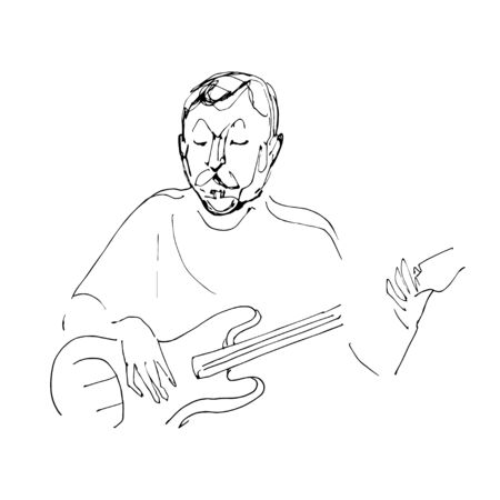 Continuous line drawing of sitting guitarist playing guitar. Vector hand draw illustration isolated on white background.