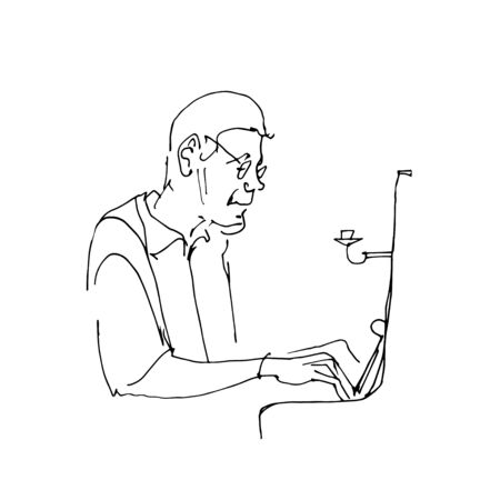 Drawing contour of piano player. Pianist sitting at the piano. Classical musician silhouette. Black lines on white background. Vector musical illustration.