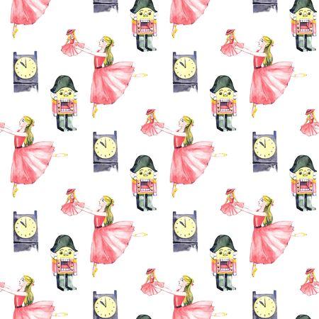 Christmas beautiful watercolor pattern, fairy tale nutcracker Stock Photo