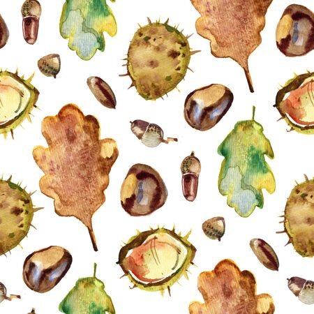 Autumn seamless pattern of chestnut, oak and maple leaves, chestnuts and acorns.