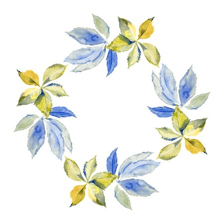 Watercolor blue and green circular floral frame. 写真素材