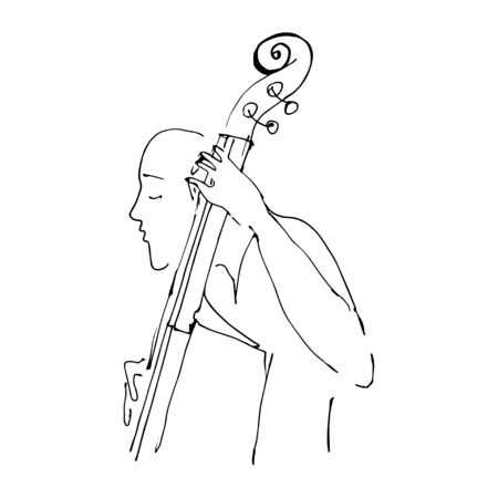 Continuous one line drawing of bass cello music instrument player. Girl playing classical double basses vector illustration cute sketch hand drawn lineart