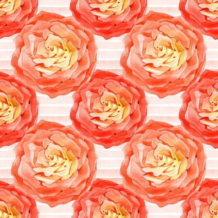 Seamless pattern with delicate bouquets of roses, rosehip flowers, Floral motif