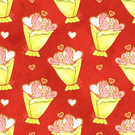 Pattern bouquet heart flowers valentines day