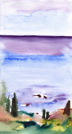 Seascape with mountains in morning mist haze with small seaside town, watercolor painting. 写真素材