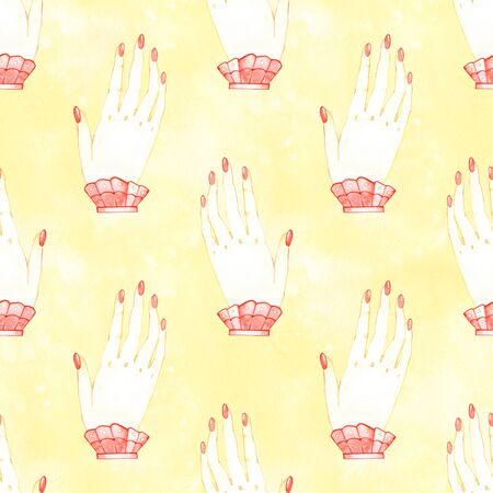 Seamless pattern love alchemy hand in watercolor style on white