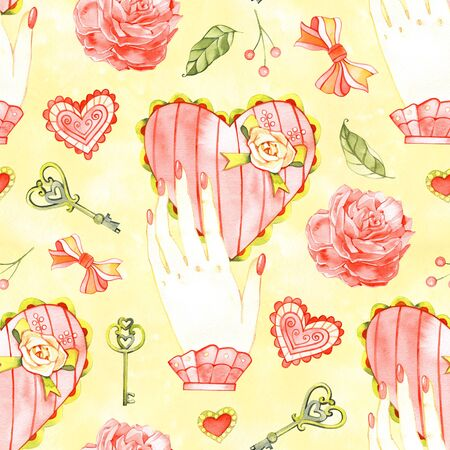 Colorful hearts seamless pattern painted with watercolor