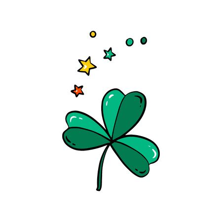 Cute cartoon clover. St. Patricks Day illustration isolated on white background