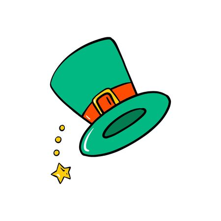 St Patricks green hat. Vector Patrick day cartoon illustration isolated on white background