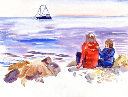 Dos niños jugando en la playa de verano frente a un velero - pintura de acuarela