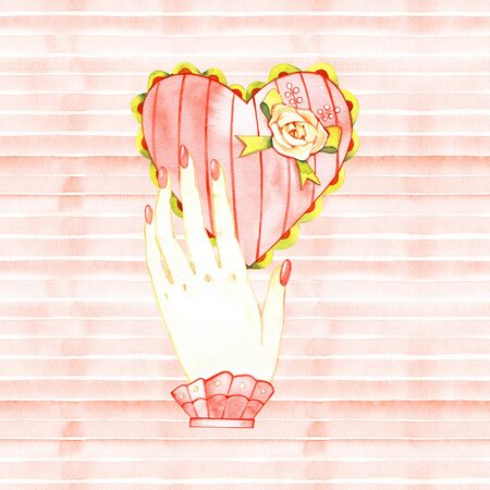 Hands holding heart in pink 写真素材