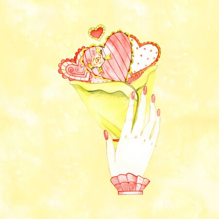 hand holding a heart, isolated watercolor love symbol. 写真素材