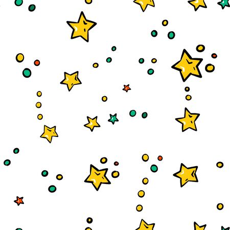 Abstract white seamless pattern with gold stars. Vector illustration. Shiny background. Texture of gold foil.