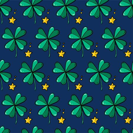vector seamless background for St. Patricks Day with a green clover and stars  イラスト・ベクター素材