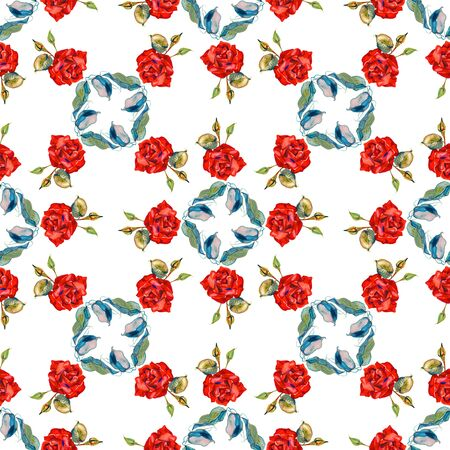 Seamless floral pattern with roses, watercolor background. Isolated on white background. 写真素材