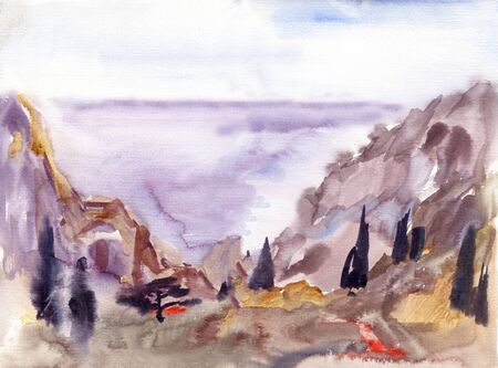 Seascape with mountains in morning mist haze with small seaside town, watercolor painting