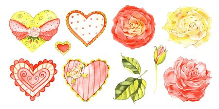 A set of hearts for love design. Watercolor hearts for St Valentines day card or wedding anniversary decoration. 写真素材