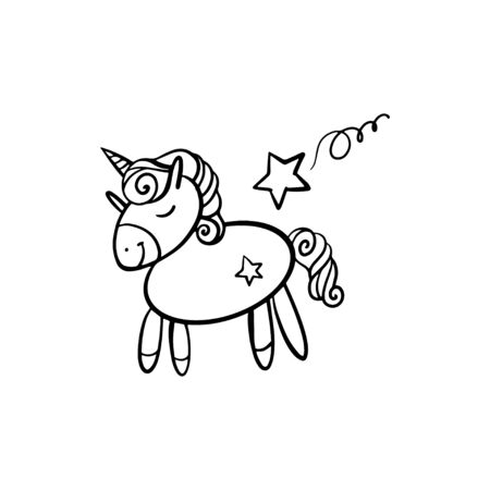 Cute little unicorn. Cartoon vector character isolated on a white background with black outline
