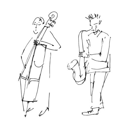 Saxophonist and contrabass player. Jazz band illustration. Musical instruments: saxophone and double bass. Black isolated contour. Hand drawn sketch. Vector Stock Illustratie