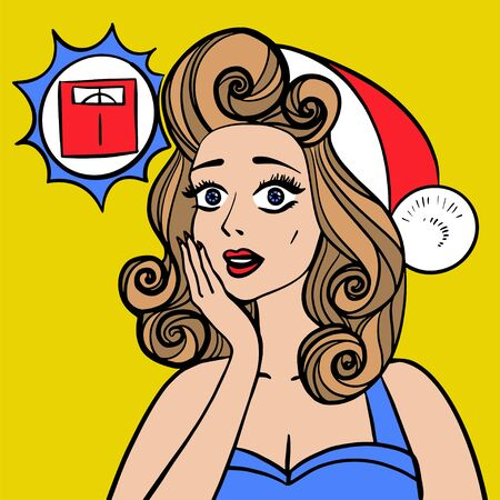 Woman is afraid to weigh herself after the new year. Fun vector illustration pinup style 向量圖像