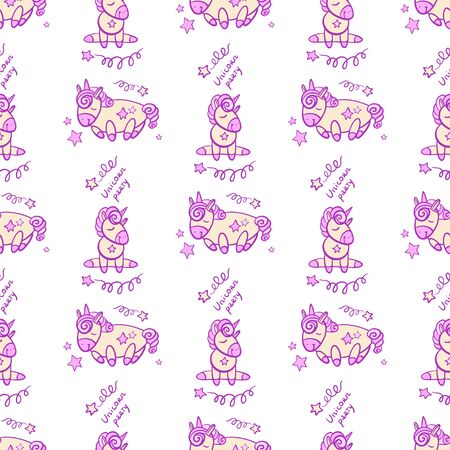 Cute seamless pattern with little cartoon pony and stars, vector texture Illusztráció