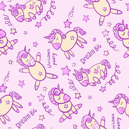 cute seamless vector pattern background illustration with unicorns and stars