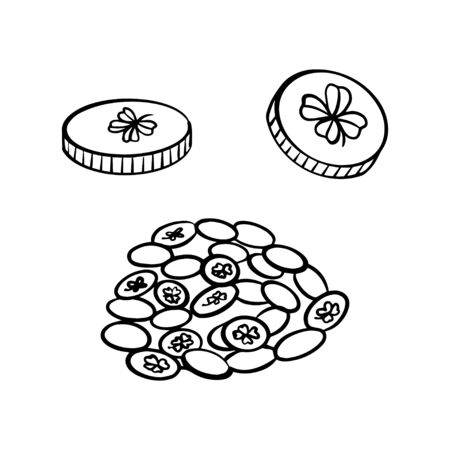Hand drawn golden coins. Saint Patricks Day. Vector illustration Stock fotó - 137875883