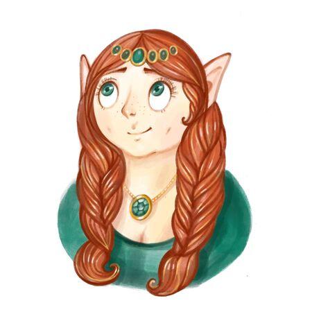 Cartoon dwarf woman potrait. Game character digital illustration