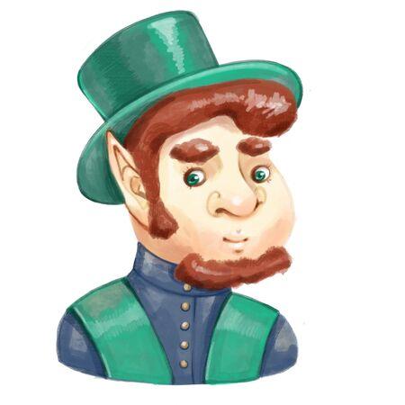 Cartoon leprechaun portrait. Digital dwarf game character on white background. Reklamní fotografie