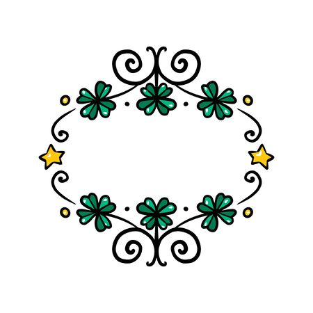 Clover garland on white background. St Patrick day greeting card with shamrock wreath. Irish. Vector flat illustration. Good for text and cards. Archivio Fotografico - 138074699