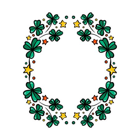 Clover garland on white background. St Patrick day greeting card with shamrock wreath. Irish. Vector flat illustration. Good for text and cards. Illustration