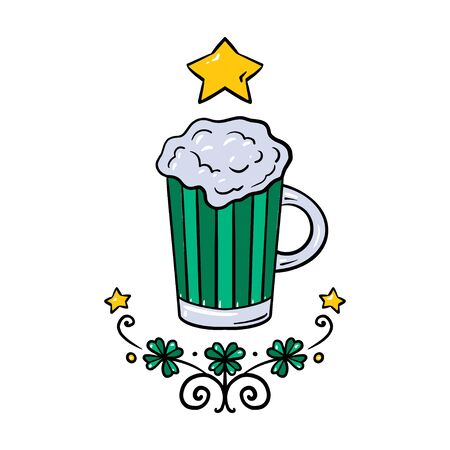 St. Patricks Day. Glass of beer in cartoon style. Vector illustration with glass. Drink menu for celebration Ilustracja