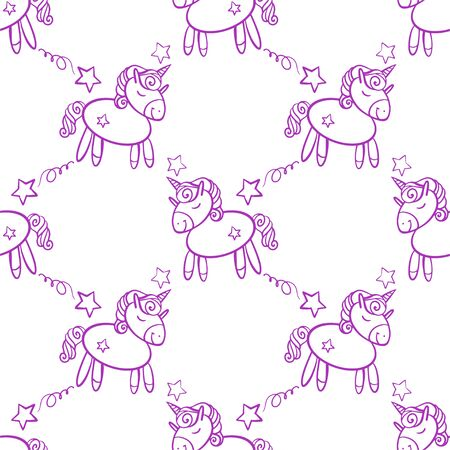 Cute seamless pattern with little cartoon pony and stars, vector texture.