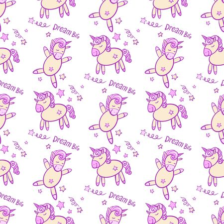 cute seamless vector pattern background illustration with unicorns and stars.