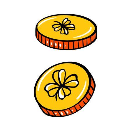 Golden coins with four leaf clover, vector illustration, for St. Patricks day. 일러스트
