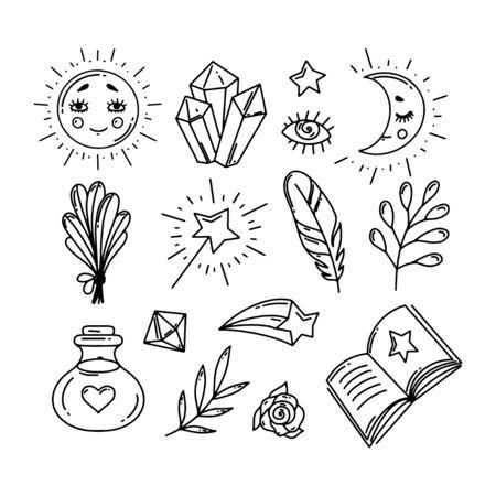 Hand-Drawn Princess Doodle Design Elements Set. Vector Illustration.