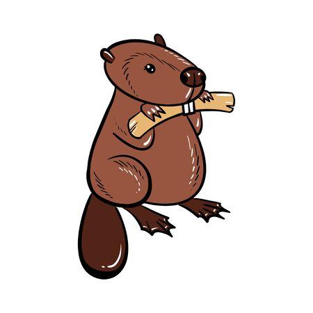 Cute chubby cartoon beaver, little kawaii mascot character. Isolated vector clip art illustration