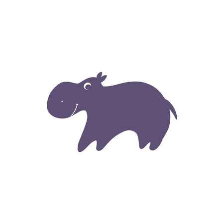 Funny cartoon hippo - vector cute baby illustration on white background  イラスト・ベクター素材