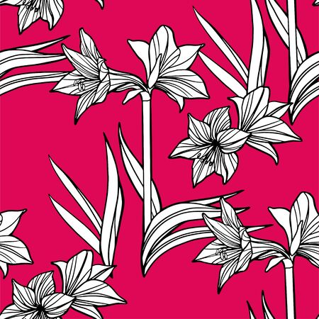 Vector Seamless Amaryllis Floral Hand-drawn Pattern. Hippeastrum Flower background for your design projects fashion textile, wallpaper, scrapbook and etc. Illustration